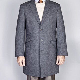 Gray Herringbone Wool/Cashmere Blend Single Breasted Carcoat