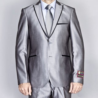 Giorgio Fiorelli Men's Silver Grey Modern Lapel Slim-Fit Suit