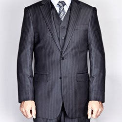 Giorgio Fiorelli Men's Black Pinstripe 2-Button Vested Suit