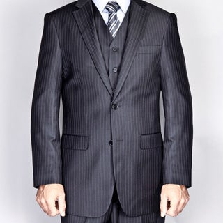 Men's Black Pinstripe 2-Button Vested Suit