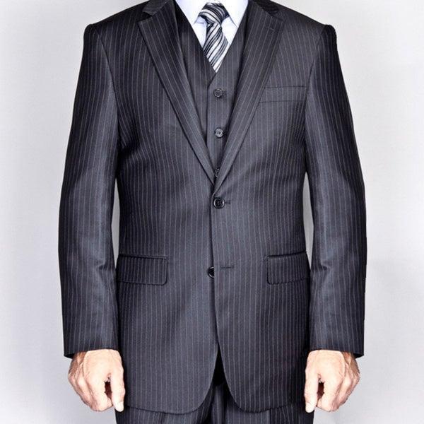 Men's Black Pinstripe 2-Button Vested Suit