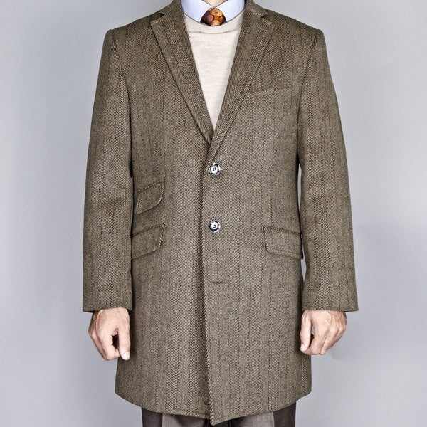 Men's Taupe Herringbone Wool Blend Single Breasted Carcoat