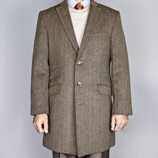 Mantoni Men's Taupe Herringbone Wool Blend Single Breasted Carcoat