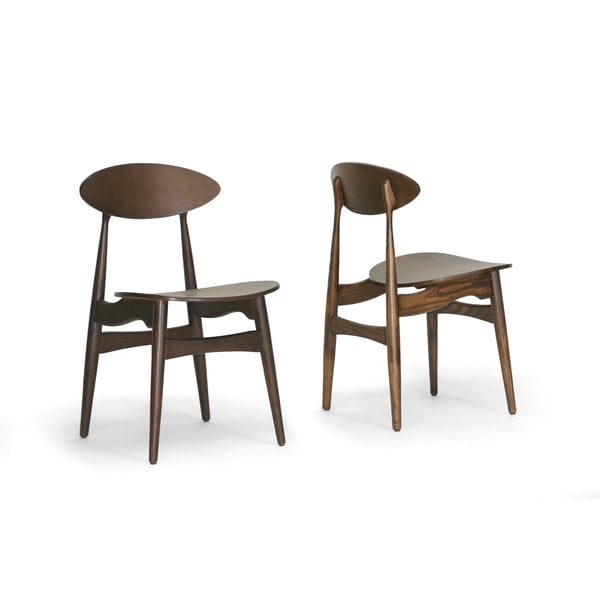 Danish modern walnut dining chairs - Ophion Brown Wood Modern Dining Chair Set Of 2