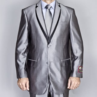 Men's Silver Grey Double Layered Lapel Suit