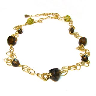 Sonia Bitton 14k Yellow Gold Multi-colored Quartz Cascade Necklace