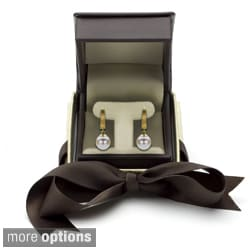 DaVonna 14k Gold White Cultured Pearl Leverback Earring with Gift Box (9-10 mm)