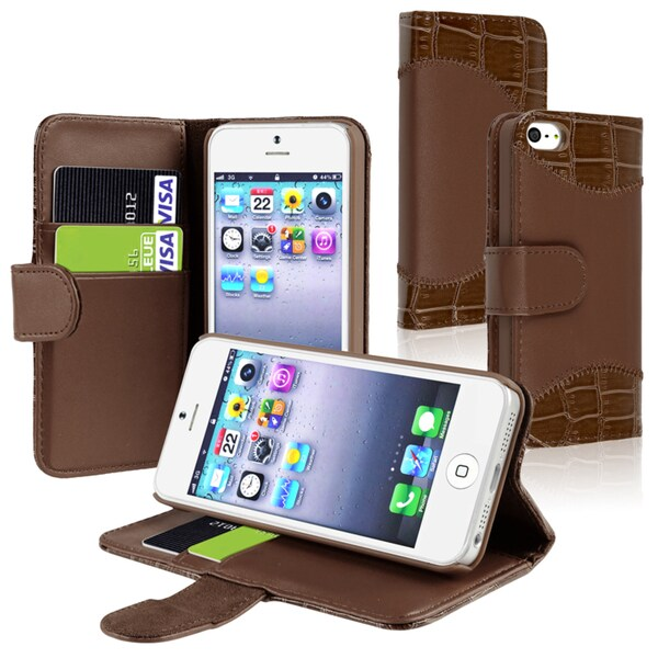 INSTEN Brown Leather Phone Case Cover with Card Holder for Apple iPhone 5/ 5S