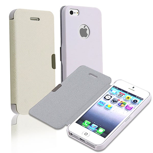 BasAcc White Rear Cream Fabric Leather Case for Apple iPhone 5
