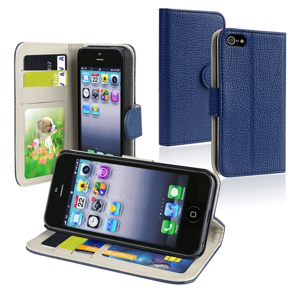 BasAcc Blue Leather Wallet Case with Card Holder for Apple iPhone 5
