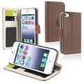 BasAcc Brown Leather Wallet Case with Card Holder for Apple iPhone 5