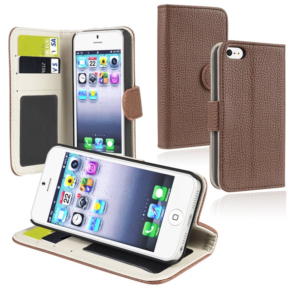 INSTEN Brown Leather Wallet Phone Case Cover with Card Holder for Apple iPhone 5/ 5S