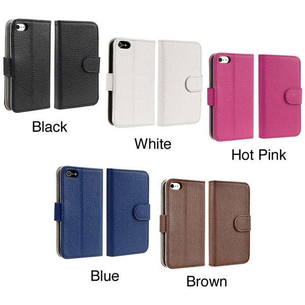 Insten Stand Folio Flip Leather Wallet Flap Pouch Phone Case with Card Slot/ Photo Display for Apple iPhone 5/ 5S