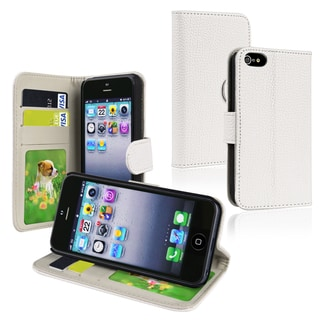 BasAcc White Leather Wallet Case with Card Holder for Apple iPhone 5