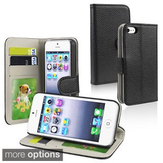 INSTEN Black Leather Wallet Phone Case Cover with Card Holder for Apple iPhone 5/ 5S