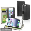 BasAcc Black Leather Wallet Case with Card Holder for Apple iPhone 5