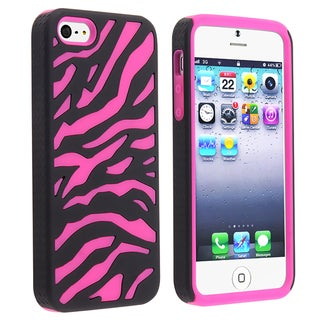 BasAcc Hot Pink/ Black Zebra Hybrid Case for Apple iPhone 5