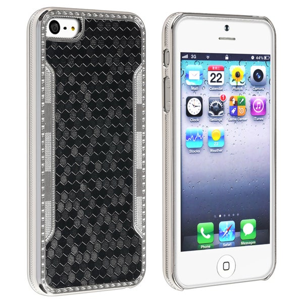 INSTEN Black Snake Leather Phone Case Cover for Apple iPhone 5