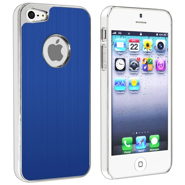 INSTEN Blue Brushed Chrome Aluminum Rear Phone Case Cover for Apple iPhone 5