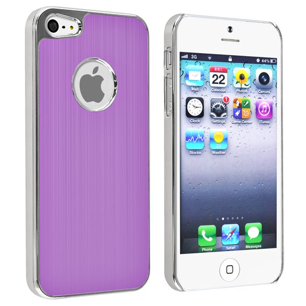 INSTEN Purple Brushed Chrome Aluminum Rear Phone Case Cover for Apple iPhone 5