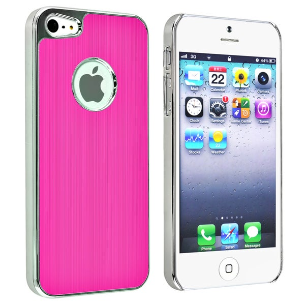 INSTEN Hot Pink Brushed Chrome Aluminum Rear Phone Case Cover for Apple iPhone 5
