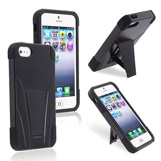 BasAcc Black/ Black Hybrid Case with Stand for Apple iPhone 5/ 5S