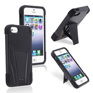 BasAcc Black/ Black Hybrid Case with Stand for Apple iPhone 5
