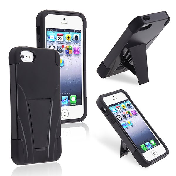 INSTEN Black/ Black Hybrid Phone Case Cover with Stand for Apple iPhone 5/ 5S