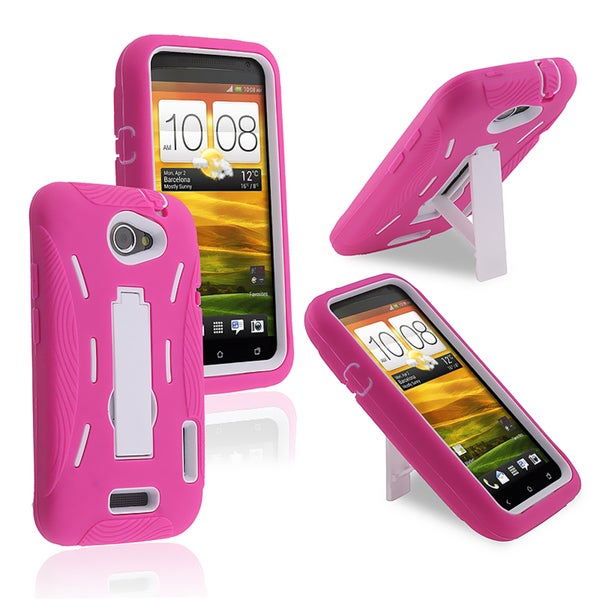INSTEN White Hard Plastic/ Hot Pink Skin Hybrid Phone Case Cover with Stand for HTC One X