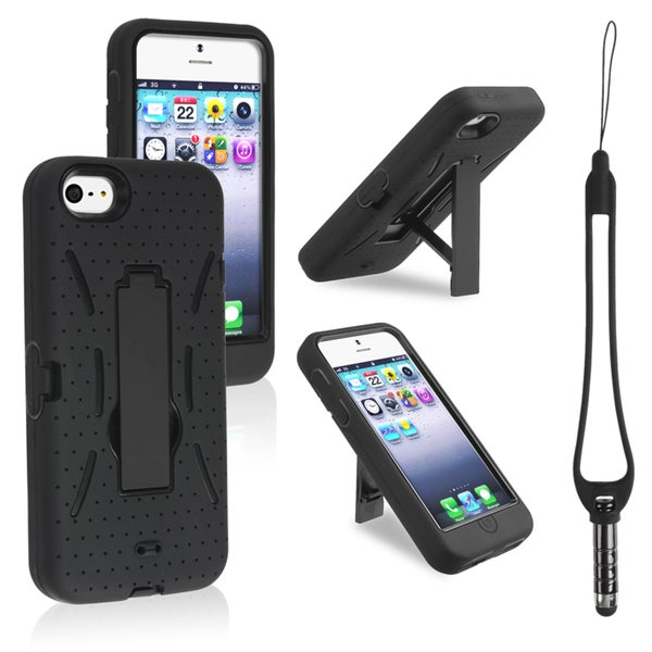 INSTEN Black Hybrid Stand Phone Case Cover with Stylus for Apple iPhone 5/ 5S