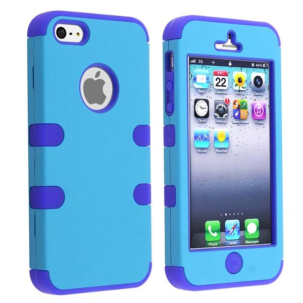 BasAcc Dark Blue Skin/ Blue Hard Hybrid Case for Apple iPhone 5