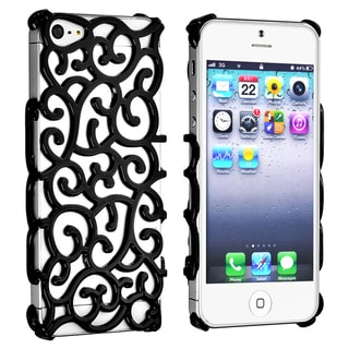 BasAcc Black Palace Flower Chrome Snap-on Case for Apple iPhone 5