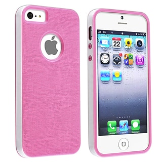 BasAcc Hot Pink with White Bumper TPU Rubber Case for Apple iPhone 5
