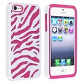 BasAcc Hot Pink/ White Hybrid case for Apple iPhone 5/ 5S