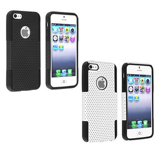 BasAcc Black/ Black Meshed Hybrid Case for Apple iPhone 5/ 5S