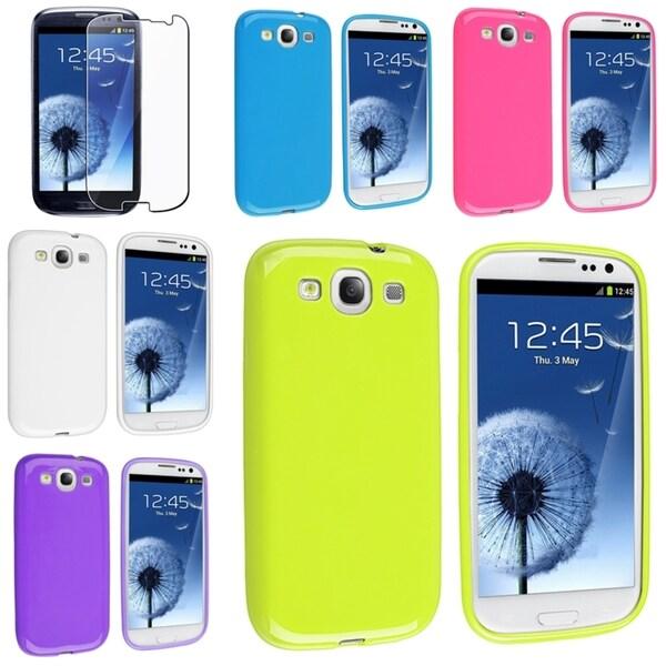 BasAcc TPU Rubber Case/ Screen Protector for Samsung Galaxy S III/ S3