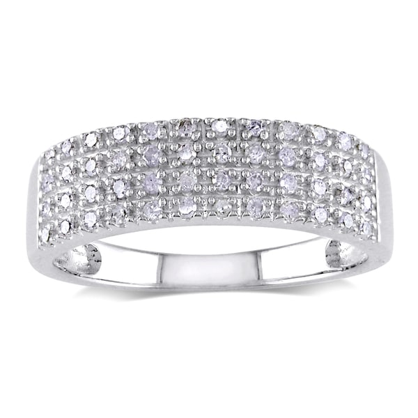 Miadora Sterling Silver 1/4ct TDW Pave Diamond Ring (H-I I2-I3)