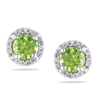 Miadora Sterling Silver Peridot and Diamond Stud Earrings (G-H, I1-I2)
