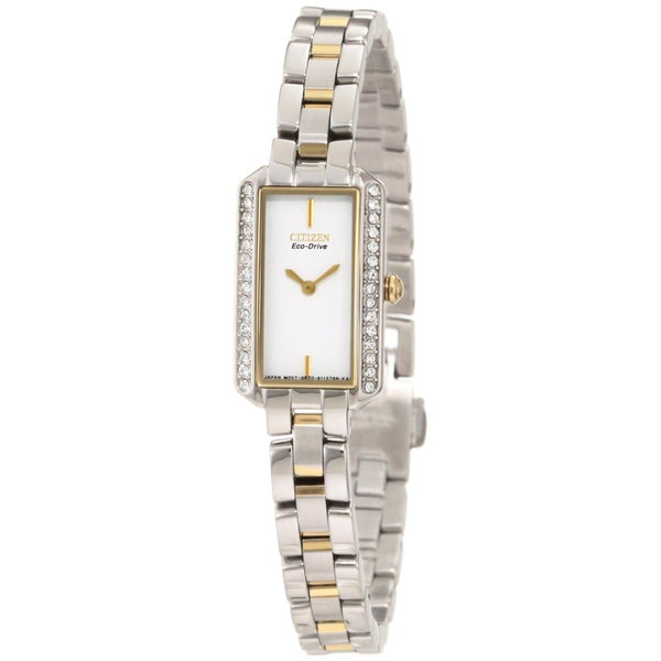 Citizen Women's Two-tone Gold Eco-Drive Crystal Watch