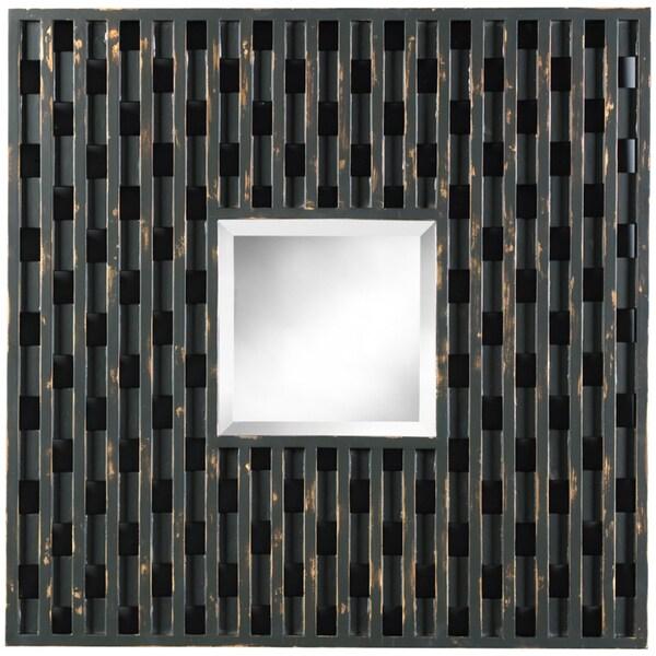 Kingsbury Distressed Black Square Mirror