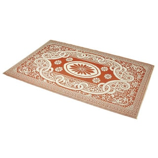 Indoor/Outdoor Orange/Ivory Flatweave Rug (6&#39; x 9&#39;) (India)