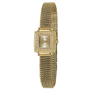 Skagen Women's 'Mesh' Yellow Goldplated Stainless Steel Crystal Watch