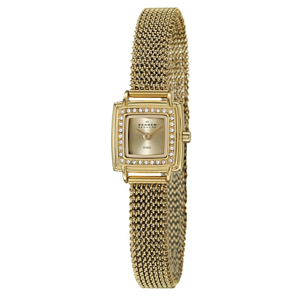 Skagen Women's 'Mesh' Yellow Goldplated Stainless Steel Crystal Watch 10191475