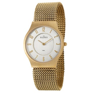 Skagen Men's 'Mesh' Yellow Goldplated Stainless Steel Quartz Watch
