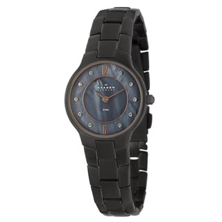 Skagen Women's 'Glitz' Black Stainless Steel Crystal Watch