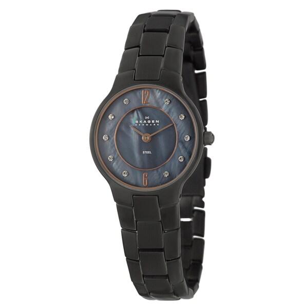 Skagen Women's 'Glitz' Black Stainless Steel Crystal Watch