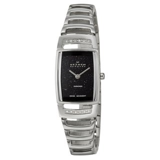 Skagen Women's Black-Dial Stainless-Steel White Diamond Watch