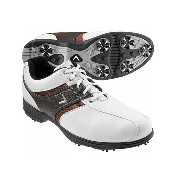 Callaway Men's Chev Comfort Saddle White/ Tan/ Black Golf Shoes