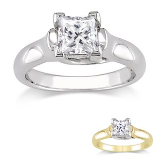 Miadora 14k Gold 1ct TDW Certified Princess-cut Diamond Solitaire Ring (G-H, I1-I2)