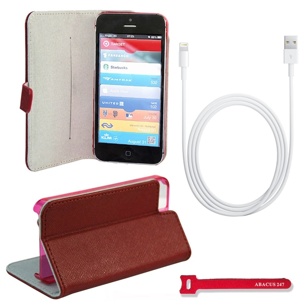 Apple Lightning USB Data / Sync Cable and iPhone 5 Red Stand Case